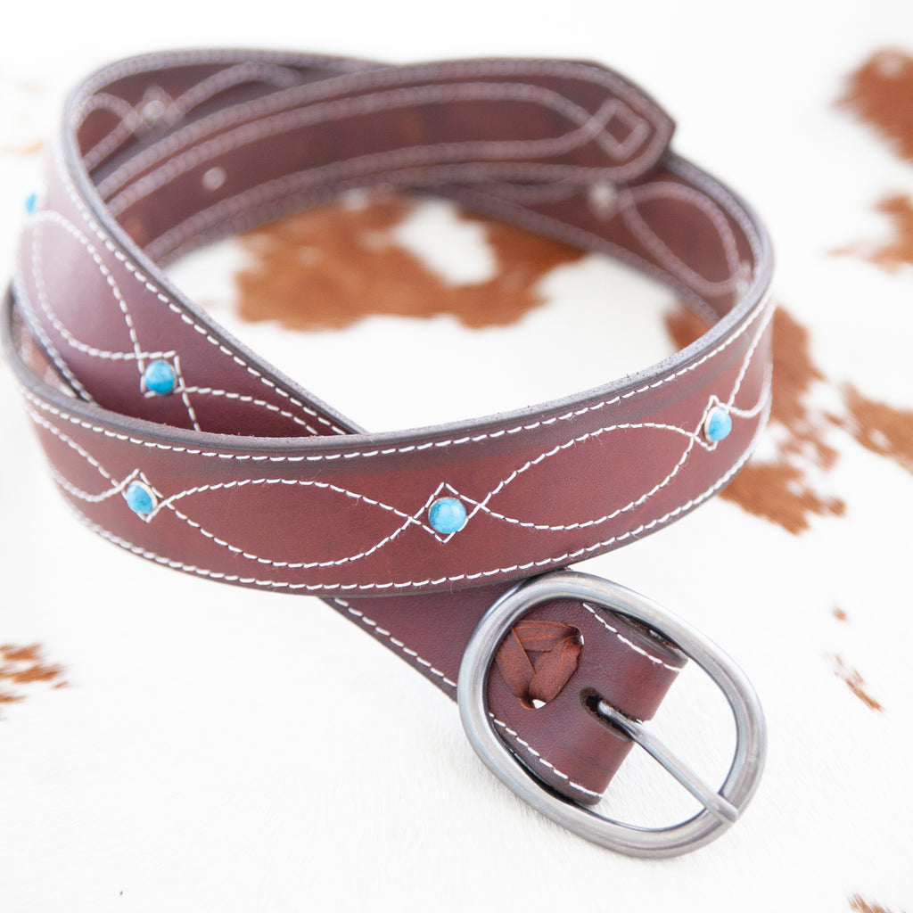 "Blue Horizon Belt | 1.5"" Cow Hide - TukTuk Clothing"