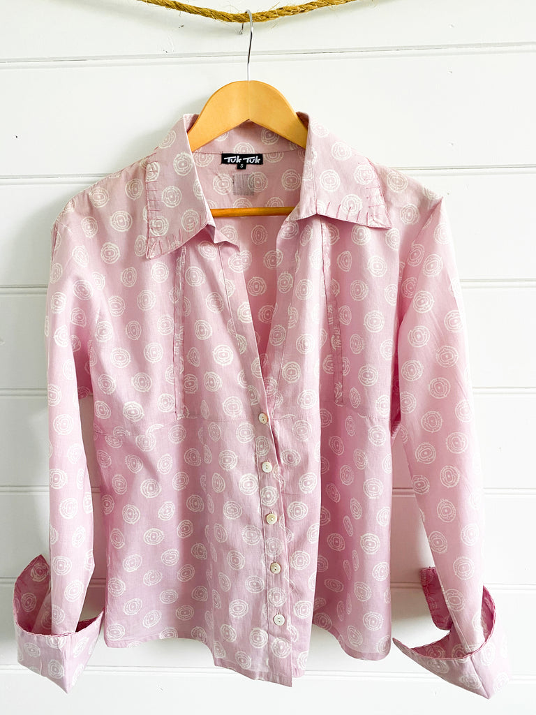 Concho Block Print Shirt | White on Pink - TukTuk Clothing