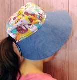12cm Big Brim Summer Sun Hat with Ponytail Opening (Happy Cats Print) Cotton Linen + Denim