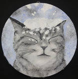 Cute Striped Cat in Snow Original Acrylic Painting on 20cm Round Canvas Panel