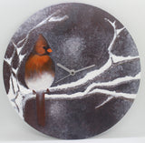 Wall Clock 30cm Round Original Acrylic Painting Red Bird 手繪掛牆時鐘