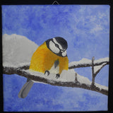British Yellow Breasted Great Tit Bird Original Acrylic Painting on square canvas panel