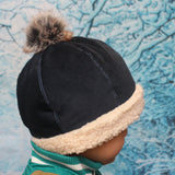 Navy Blue Corduroy + Faux Sherpa Winter Beanie with Removable Faux Fur Pom-Pom 秋冬保暖可拆毛毛球帽子 (深藍色燈芯絨+羊羔絨)