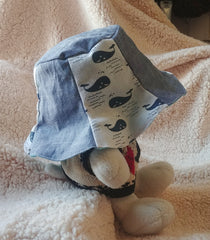 Cute Handmade Bucket Hat, Sun Hat (Cotton Linen Blue Whale Print + Lightweight Denim + Cotton Lining)
