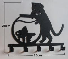 Stylish Metal Art Decor Wall Mounted Clothes Hook Hanger (Cat & Goldfish)