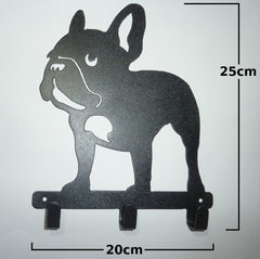 Stylish Metal Art Decor Wall Mounted Key Hook Hanger (French Bulldog)