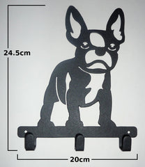 Stylish Metal Art Decor Wall Mounted Key Hook Hanger (French Pit Bulldog)
