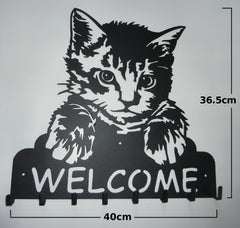 Stylish Metal Art Decor Wall Mounted Welcome Sign with Key Hook Hanger (Cat)