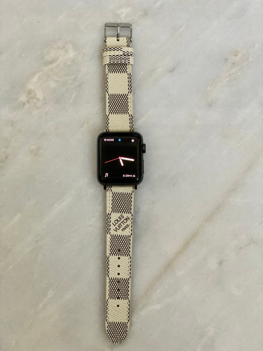 White LV Damier Apple Watch band
