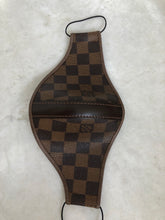 Load image into Gallery viewer, Brown LV Checkered Custom Strap Mask (w/ Leather Strap Detail)