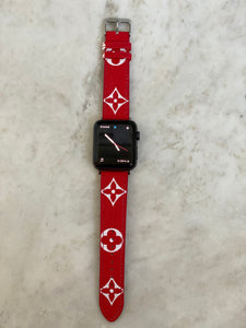Red Monogram LV Apple watch band