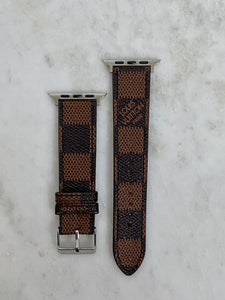 Brown LV Damier Apple Watch band