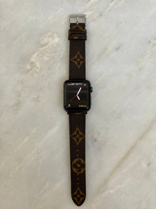 Brown LV monogram Apple Watch band