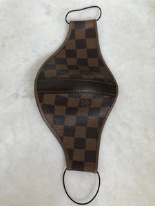 Brown LV Checkered Custom Strap Mask (w/ Leather Strap Detail)