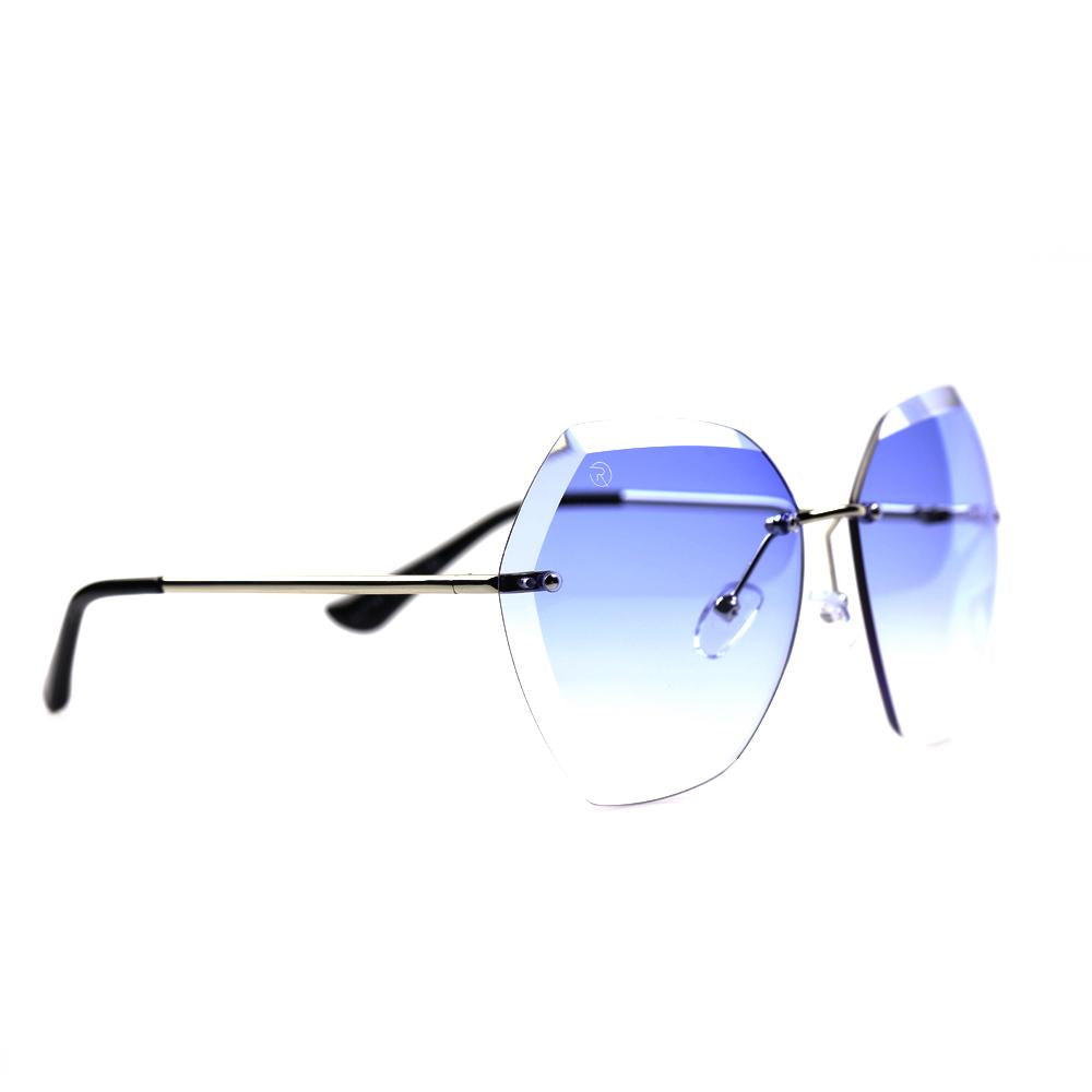 Blue Oversized Rimless Specs