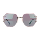 Pink Rimless Oversized Octagonal Specs