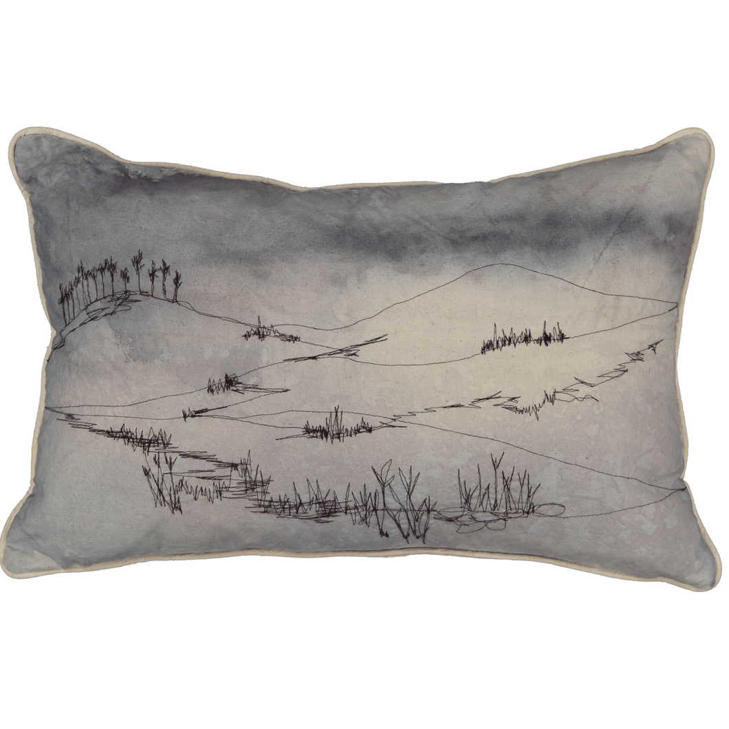 Landscape Cushion Cover: Hand painted and stitched