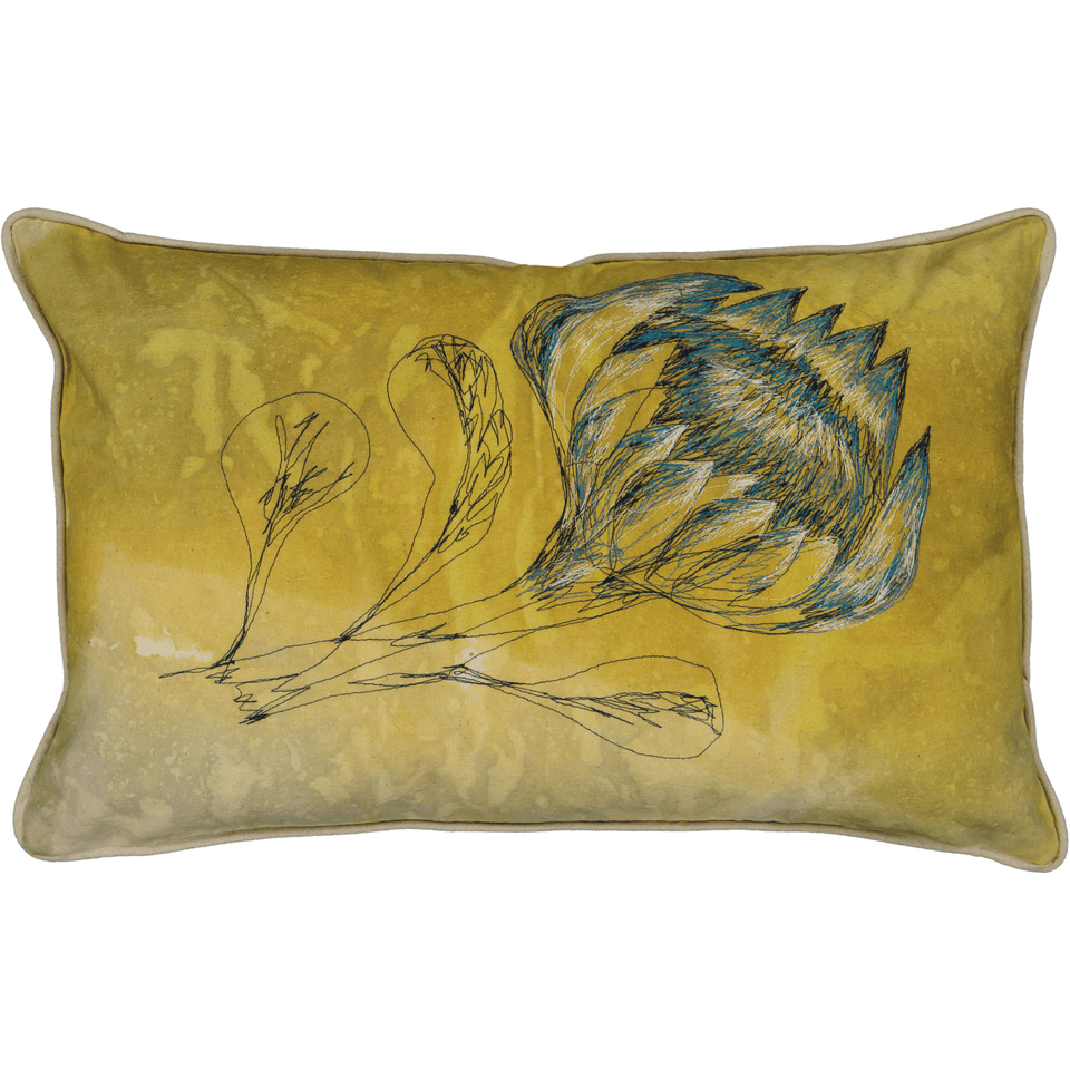 Protea Cushion Cover: Hand painted and stitched
