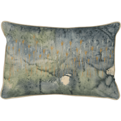 Wetlands Cushion Cover: Hand painted and stitched