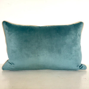 Dusty Bush Sunset Grasslands Cushion Cover (Aqua Blue Velvet back)