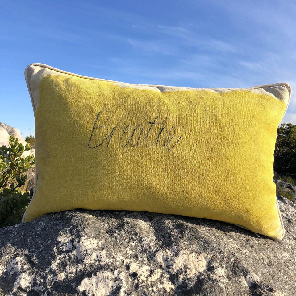 SALE Cushion Cover Yellow BREATHE