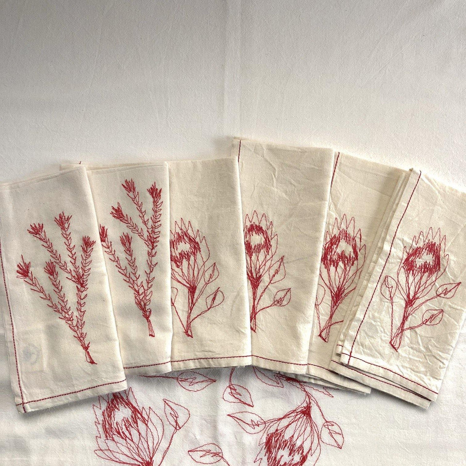 SALE Napkins RED SET OF 6 (COTTON)