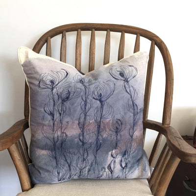 Leucadendron Cushion Cover: Hand painted and stitched
