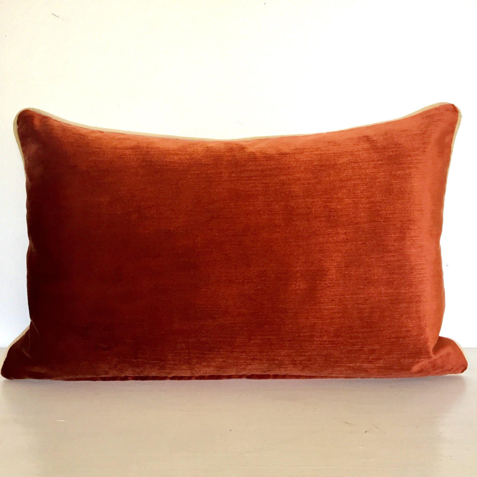 Bush Sunset Cushion Cover (Rust orange Velvet back) 2