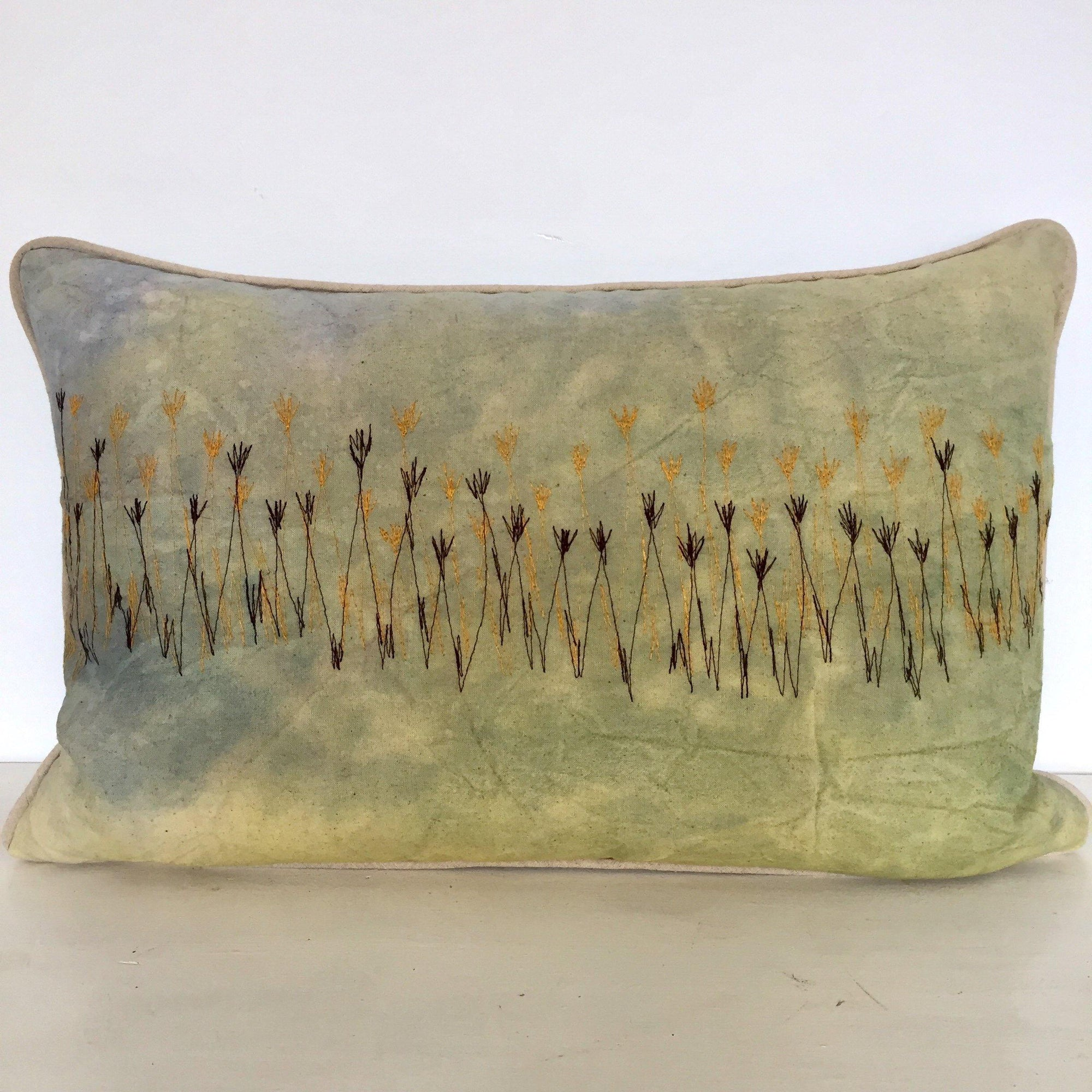 Misty Morning Wetlands Cushion Cover (Aqua Blue VELVET back)