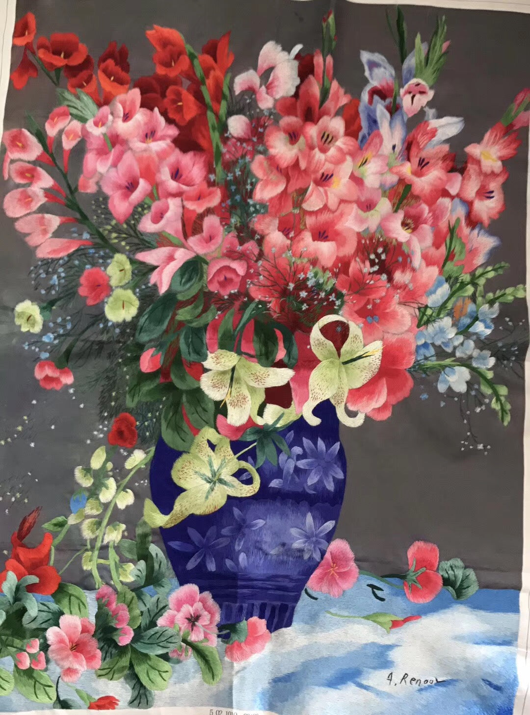 Chinese SuZhou Silk Embroidery FrameRED FLOWERS 1