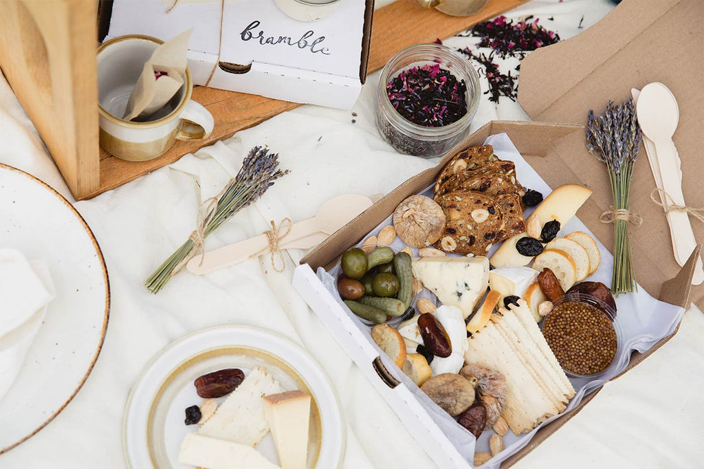 Top photo of the Cheese Box Add-On for the Mother's Day 2021 Lavender Tea for Two package at Bilston Creek Farm in Victoria BC