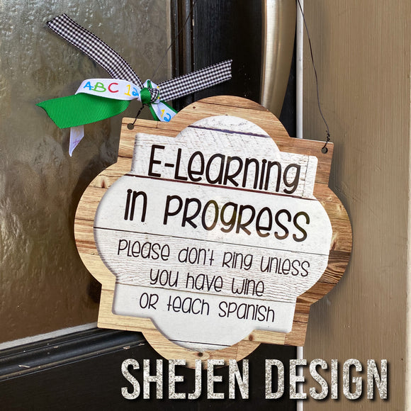 E-learning door sign
