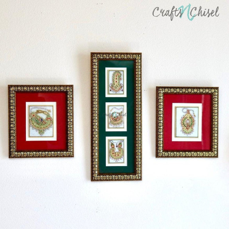Handcrafted Jewelry Painting (Set of 3) - Wall Decor - 22K Gold Leaf Meenakari Marble Art-Crafts N Chisel India - Indian home decor - India