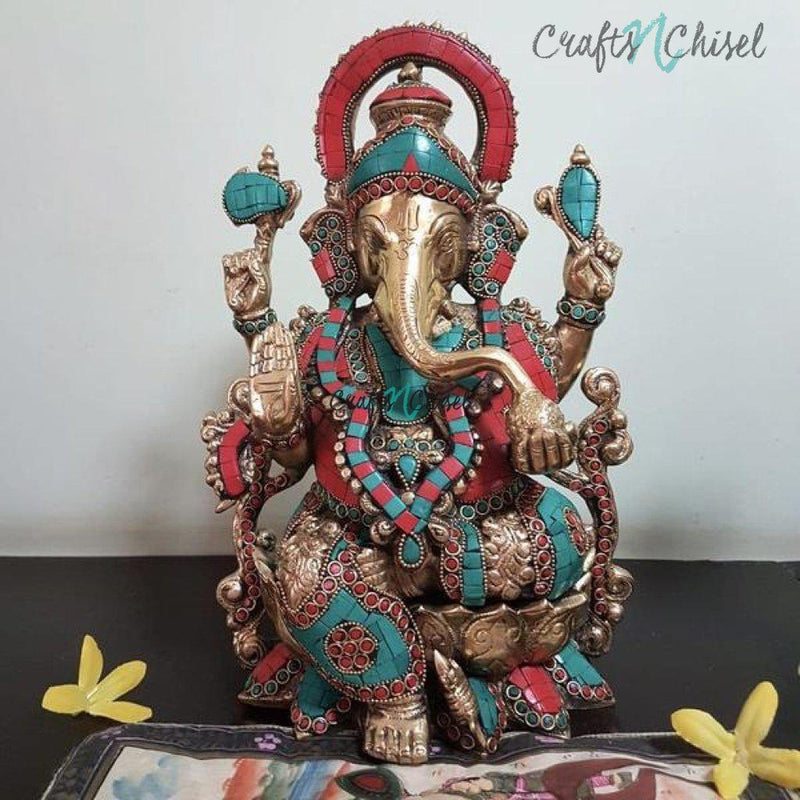 "12"" Lord Ganesh Brass Idol - handcrafted turquoise Inlay - Decorative Figurine-Crafts N Chisel India - Indian home decor - India"
