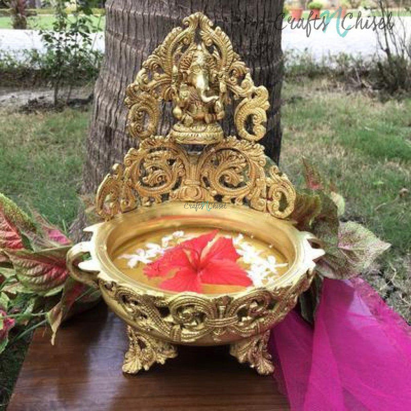 "12"" Decorative Brass Urli With Lord Ganesha-Crafts N Chisel India - Indian home decor - India"