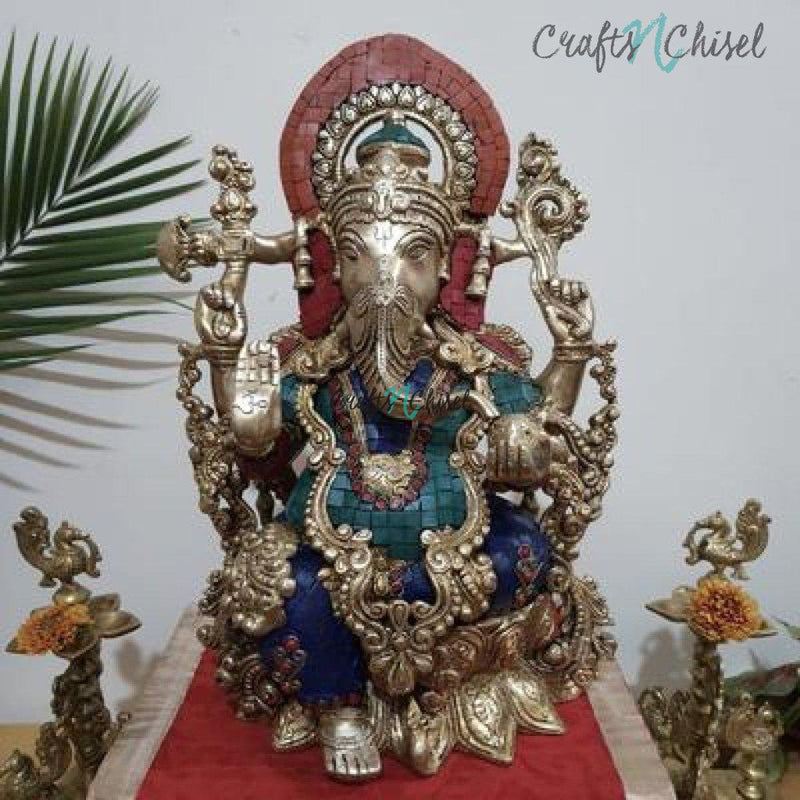"16"" Lord Ganesh Brass Idol - handcrafted turquoise Inlay - Decorative Figurine-Crafts N Chisel India - Indian home decor - India"
