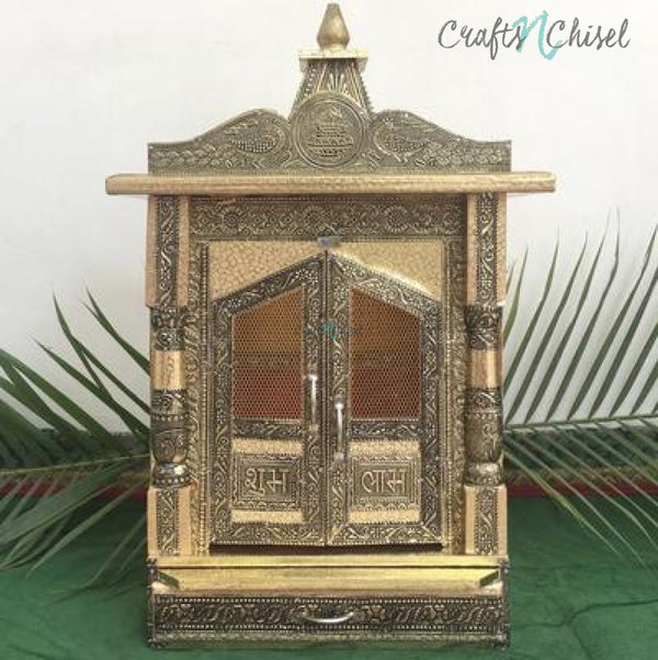 "14"" Wooden Temple (Mandir)-Crafts N Chisel India - Indian home decor - India"
