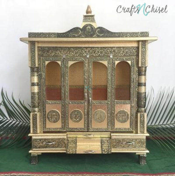 "25"" Wooden Temple (Mandir)-Crafts N Chisel India - Indian home decor - India"