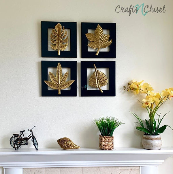 Brass Leaf Wall Hanging (Set of 4)-Crafts N Chisel India - Indian home decor - India