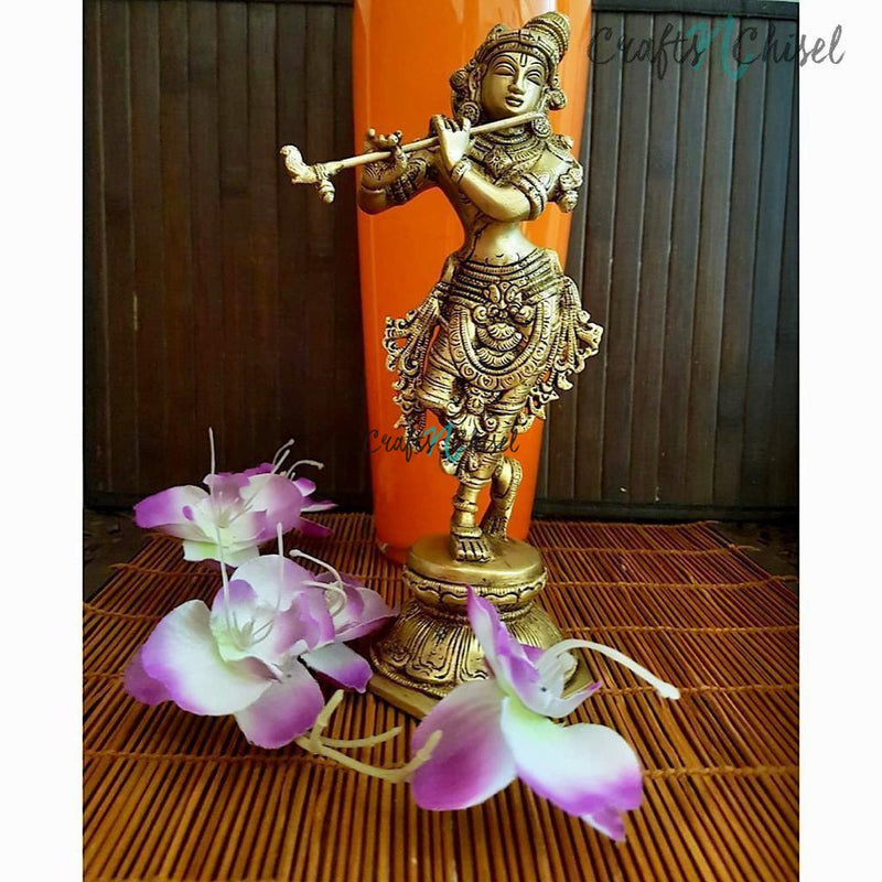 "Handcrafted 10"" Lord Krishna Brass Idol - Decorative Figurine-Crafts N Chisel India - Indian home decor - India"