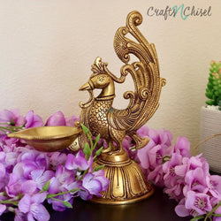 Dancing Peacock Diya - Handmade Brass lamp - Decorative-Crafts N Chisel India - Indian home decor - India