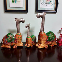 Decorative Wooden Metallic Camel (set of 3)-Crafts N Chisel India - Indian home decor - India
