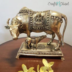 Cow and Calf Set - Handmade Brass Statue - Decorative Figurine-Crafts N Chisel India - Indian home decor - India