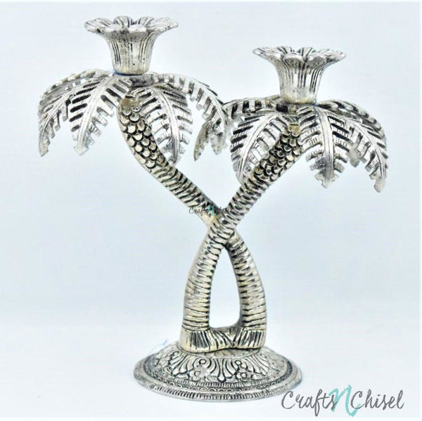 Silver Plated Antique Finish Two Tree Candle Stand-Crafts N Chisel India - Indian home decor - India