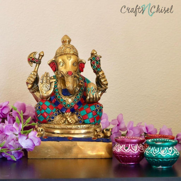 "8"" Lord Ganesh Brass Idol - handcrafted turquoise Inlay - Decorative Figurine-Crafts N Chisel India - Indian home decor - India"