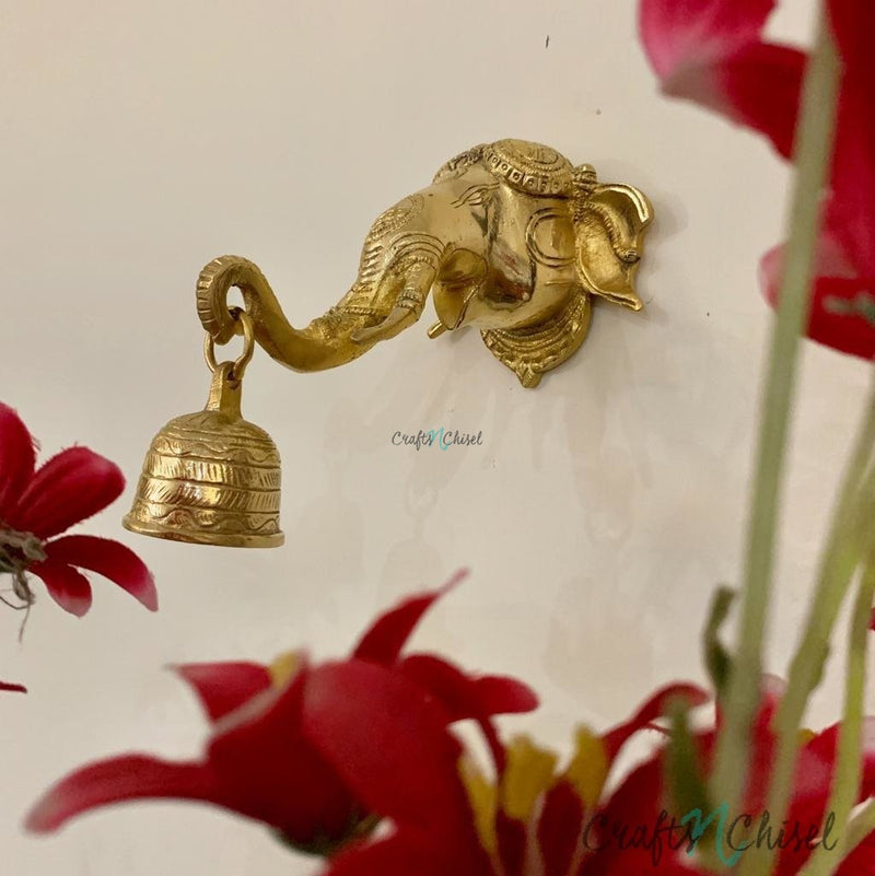 Lord Ganesh Bell - Brass Wall Hanging - Decorative and Religious-Crafts N Chisel India - Indian home decor - India