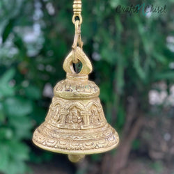 Ganesha Hanging Bell - Brass Wall Hanging - Decorative and Religious-Crafts N Chisel India - Indian home decor - India