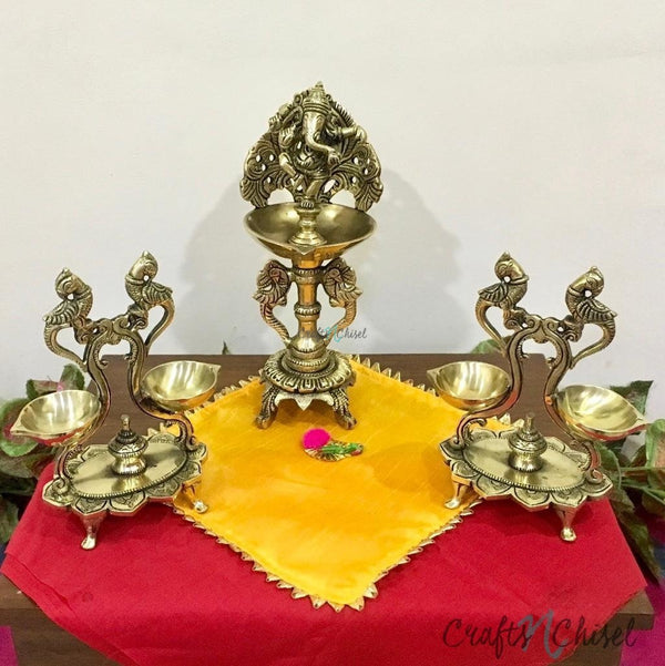 Handmade Brass Diya Lamp : Dancing Ganesha & Twin Peacock (Set of 3)-Crafts N Chisel India - Indian home decor - India