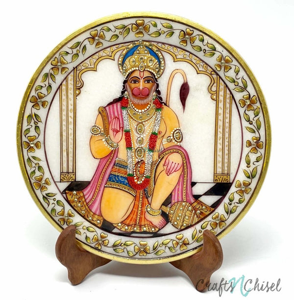 "Lord Hanuman Gold leaf 9"" Marble Round Jew Plate - Home Decor, Table Decor - Spiritual-Crafts N Chisel India - Indian home decor - India"