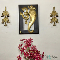 Om Ganesha Wall Hanging with Laxmi Ganesh Brass Bell (Set of 3)-Crafts N Chisel India - Indian home decor - India